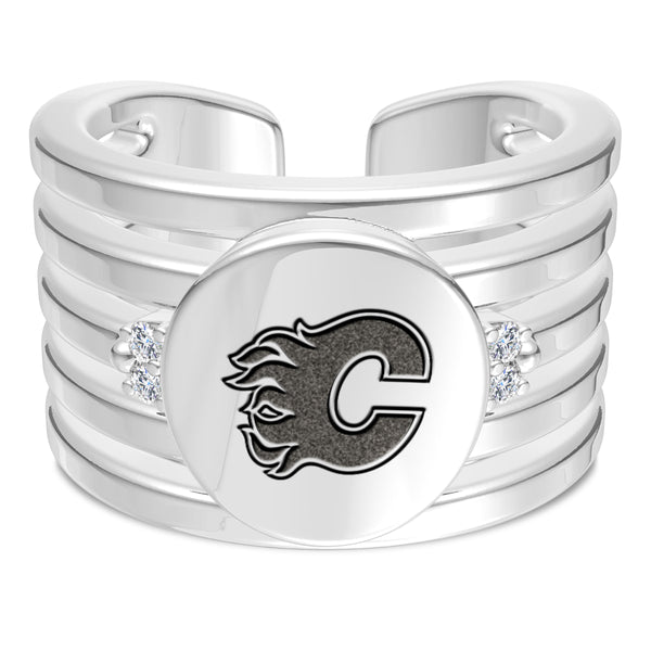 Calgary Flames Diamond Logo Engraved Multiband Ring In Sterling Silver