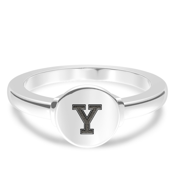 Yale University Logo Engraved Ring In Sterling Silver