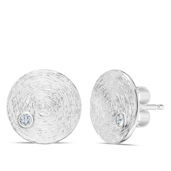 Bixlers Simplicity Diamond Circular Textured Disc with Earring In Sterling Silver