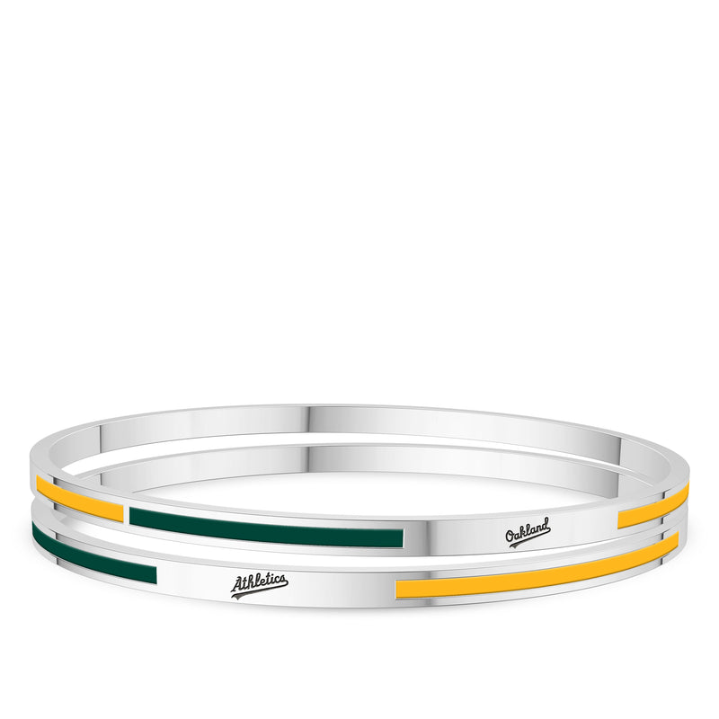 Oakland Athletics Engraved Two-Tone Enamel Bracelet In Sterling Silver