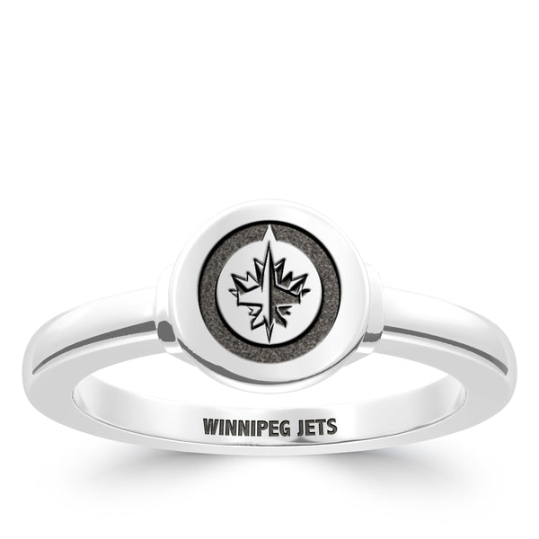 Winnipeg Jets Logo Engraved Ring In Sterling Silver