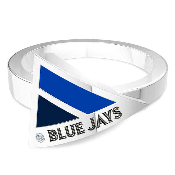 Toronto Blue Jays Diamond Engraved Geometric Ring In Sterling Silver