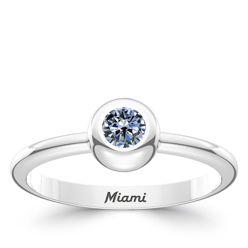 Miami Marlins White Sapphire Engraved Ring In Sterling Silver