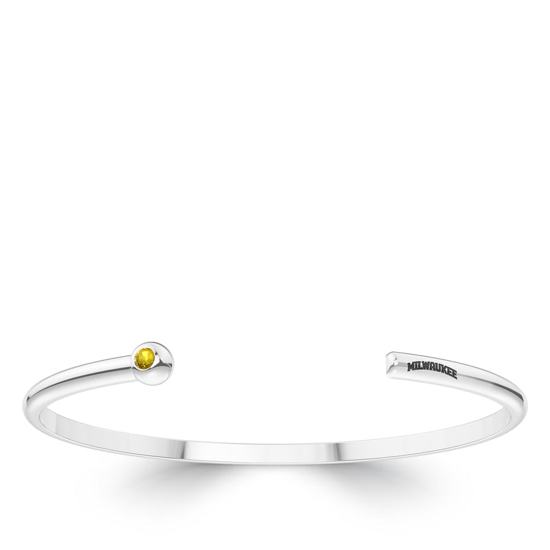 Milwaukee Brewers Yellow Sapphire Engraved Cuff Bracelet In Sterling Silver