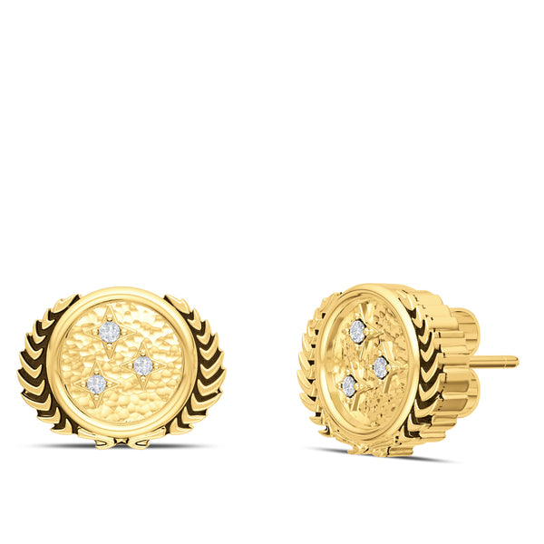 Star Trek Diamond Federation Stud Earring In 14K Yellow Gold