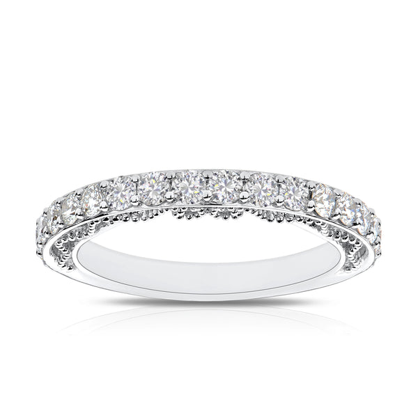 Bixlers Prong Set Diamond Beaded & Pierced Gallery Wedding Band In 14K White Gold