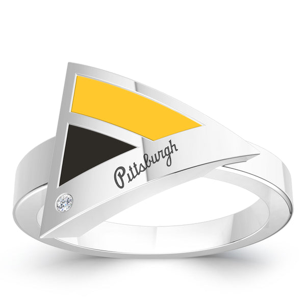 Pittsburgh Pirates Diamond Engraved Geometric Ring In Sterling Silver