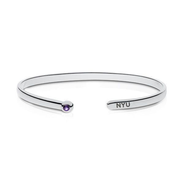 New York University Amethyst Engraved Cuff Bracelet In Sterling Silver
