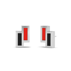 Texas Tech University Asymmetric Enamel Stud Earring In Sterling Silver