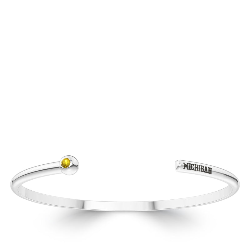 The University Of Michigan Yellow Sapphire Engraved Cuff Bracelet In Sterling Silver