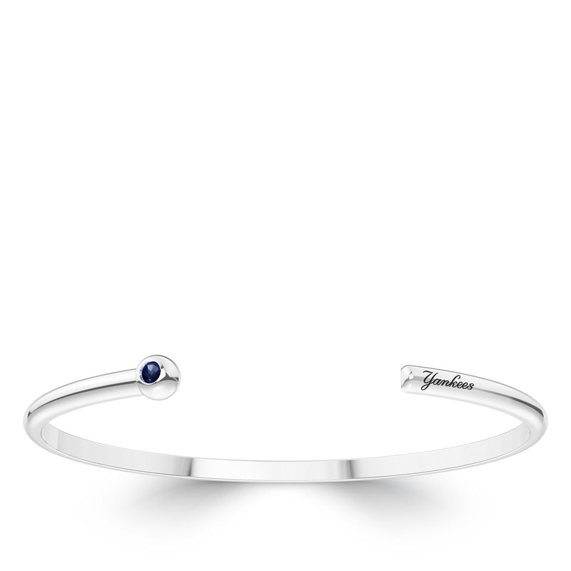 New York Yankees Sapphire Engraved Cuff Bracelet In Sterling Silver