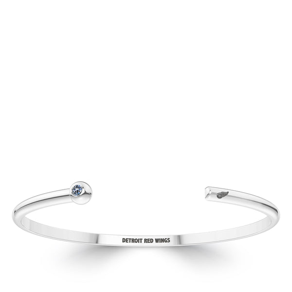 Detroit Redwings White Sapphire Engraved Cuff Bracelet In Sterling Silver