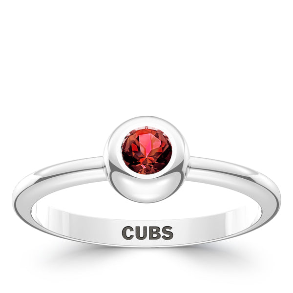 Chicago Cubs Ruby Engraved Ring In Sterling Silver