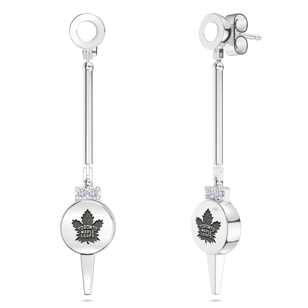 Toronto Maple Leafs Diamond Logo Engraved Enamel Dangle Earring In Sterling Silver
