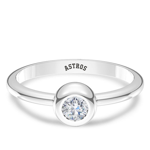 Houston Astros Diamond Engraved Ring In Sterling Silver