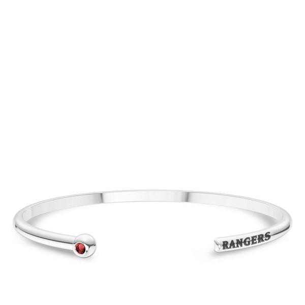 Texas Rangers Ruby Engraved Cuff Bracelet In Sterling Silver