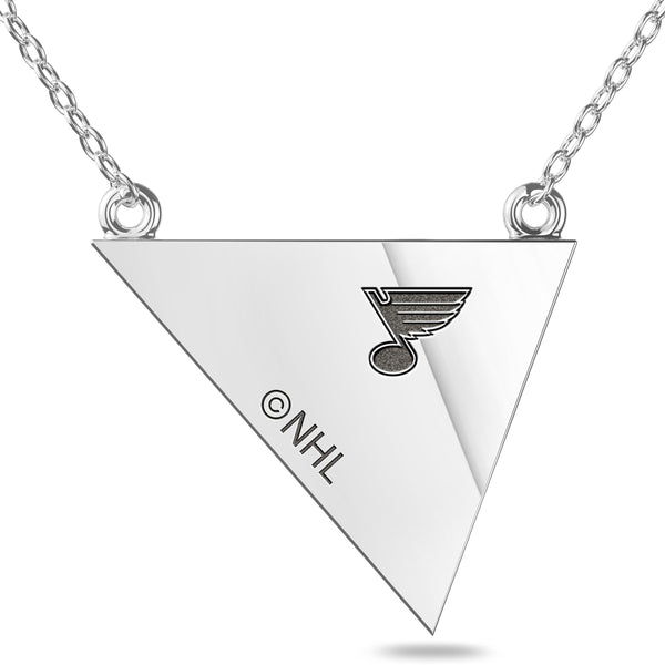 St. Louis Blues Geometric Necklace In Sterling Silver