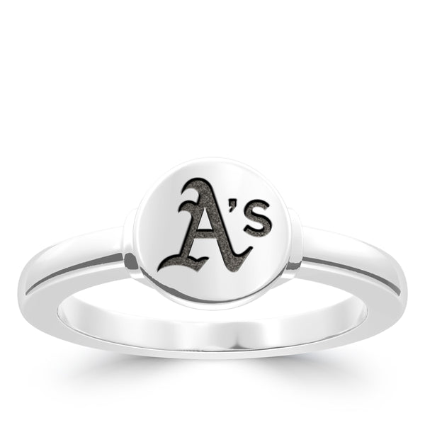 Oakland Athletics Logo Engraved Ring In Sterling Silver