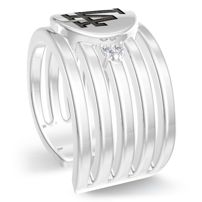 Los Angeles Dodgers Diamond Logo Engraved Multiband Ring In Sterling Silver