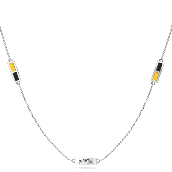 Pittsburgh Pirates Triple Station Necklace In Sterling Silver