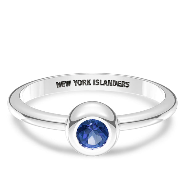 New York Islanders Sapphire Engraved Ring In Sterling Silver