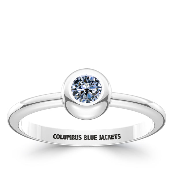 Columbus Blue Jackets White Sapphire Engraved Ring In Sterling Silver