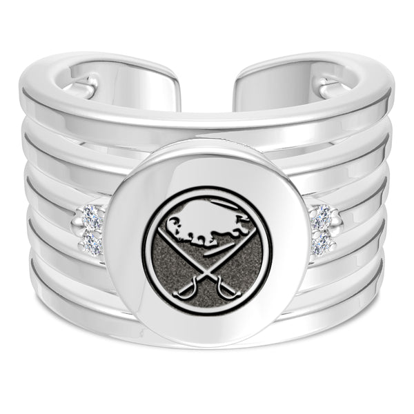 Buffalo Sabres Diamond Logo Engraved Multiband Ring In Sterling Silver