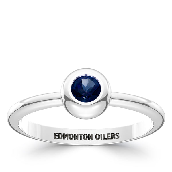 Edmonton Oilers Sapphire Engraved Ring In Sterling Silver