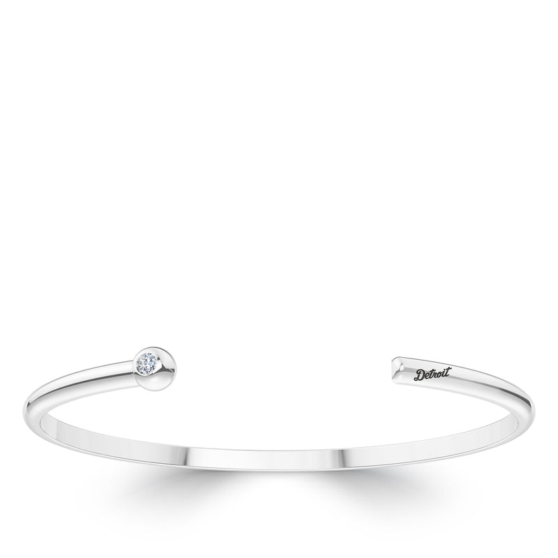 Detroit Tigers Diamond Engraved Cuff Bracelet In Sterling Silver