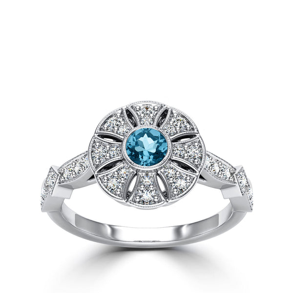 Bixlers Easton Diamond Flower Milgrain Ring In 14K White Gold