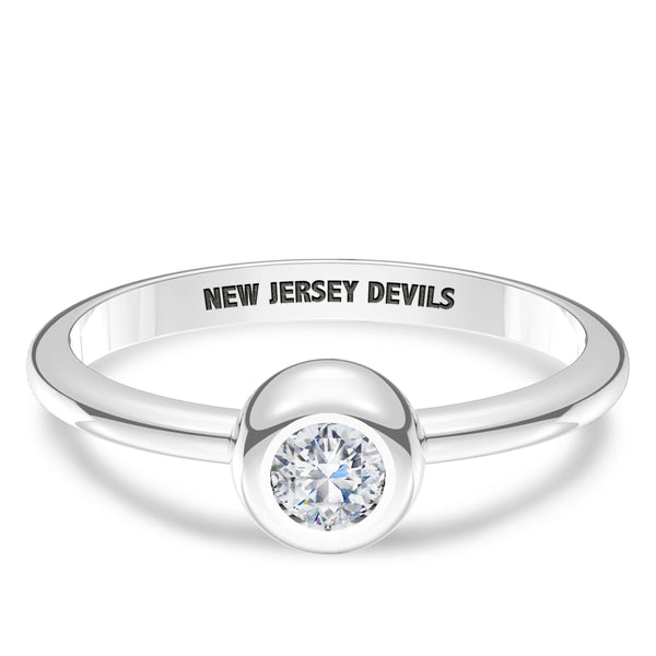 New Jersey Devils Diamond Engraved Ring In Sterling Silver