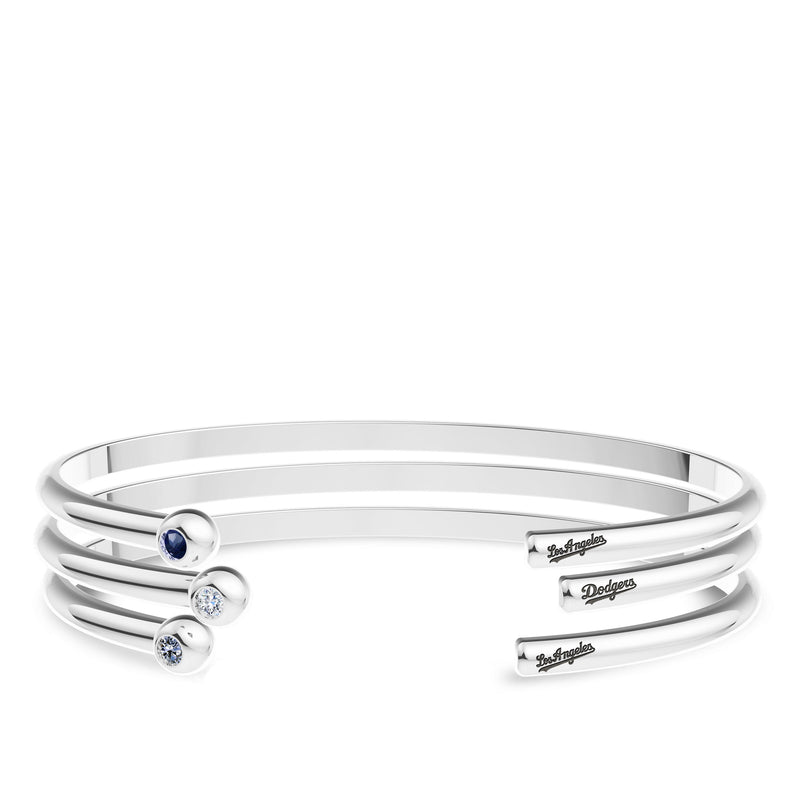 Los Angeles Dodgers White Sapphire Engraved Cuff Bracelet In Sterling Silver