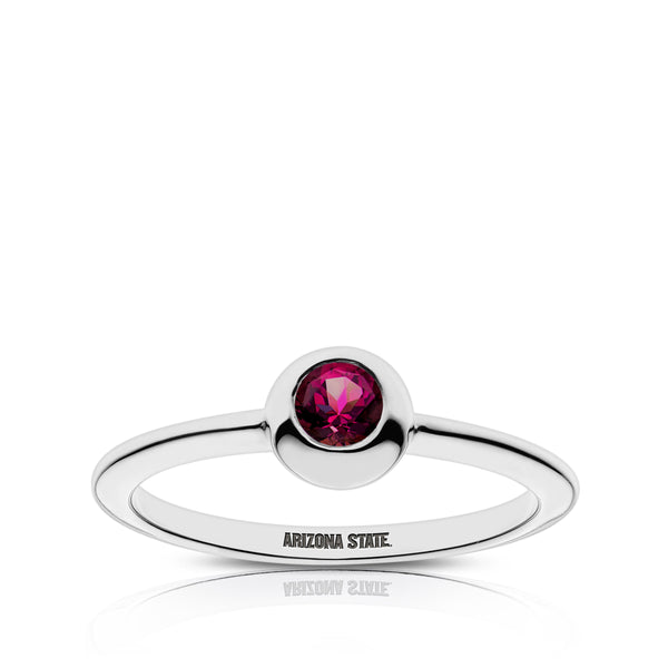 Arizona State University Rhodolite Engraved Ring In Sterling Silver