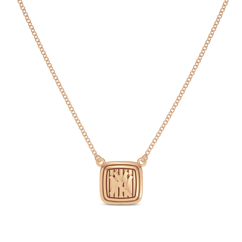 New York Yankees Cable Pinstripe Logo Suspended Necklace In 14K Rose Gold