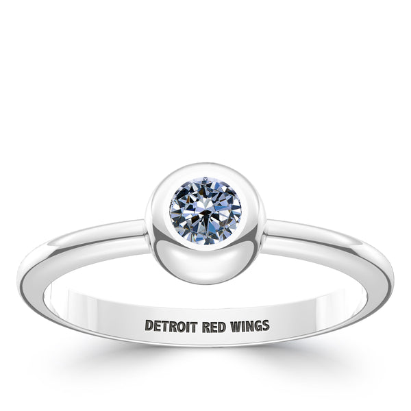 Detroit Redwings White Sapphire Engraved Ring In Sterling Silver