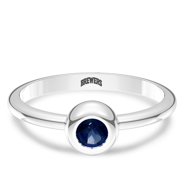 Milwaukee Brewers Sapphire Engraved Ring In Sterling Silver