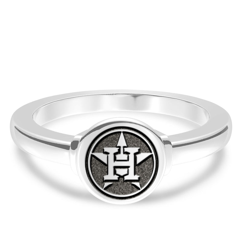 Houston Astros Logo Engraved Ring In Sterling Silver