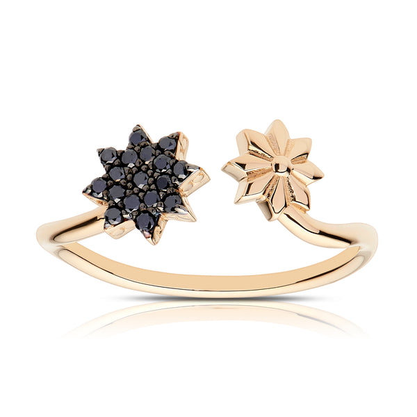 Bixlers Etoile Black Diamond Starlight Wrap Ring In 14K Yellow Gold