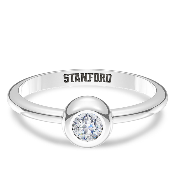Stanford University Diamond Engraved Ring In Sterling Silver