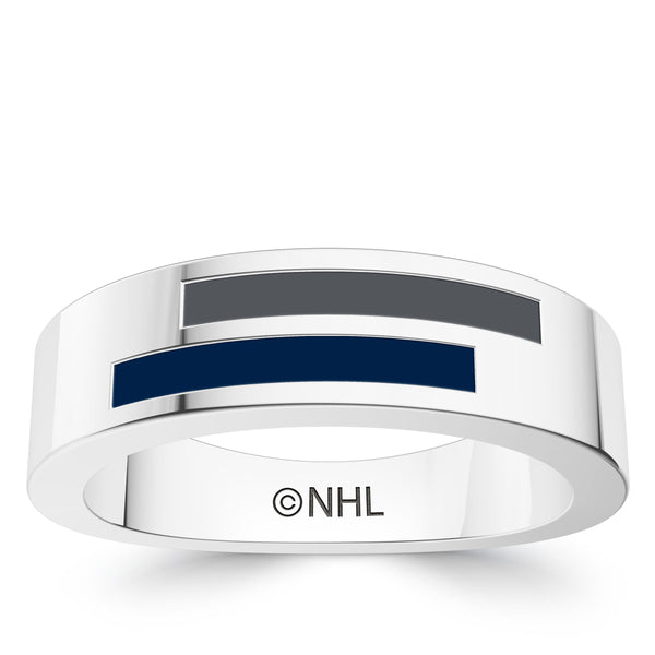Winnipeg Jets Asymmetric Enamel Ring In Sterling Silver