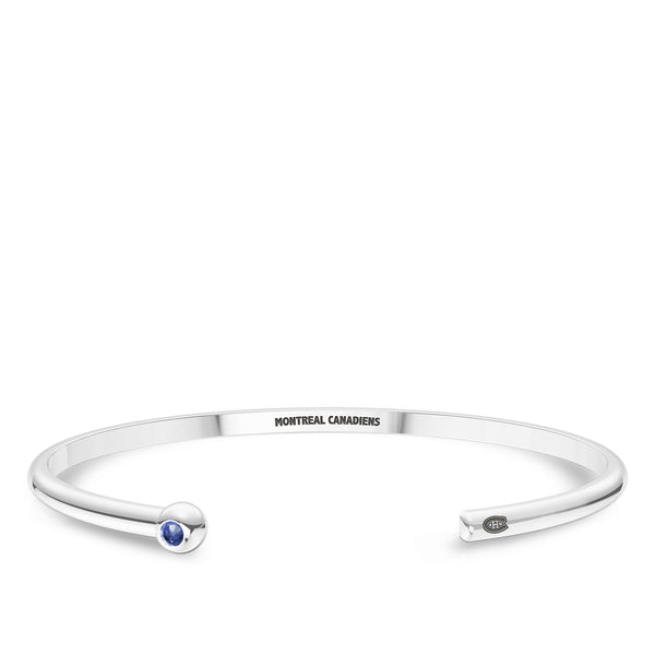 Montreal Canadiens Sapphire Engraved Cuff Bracelet In Sterling Silver