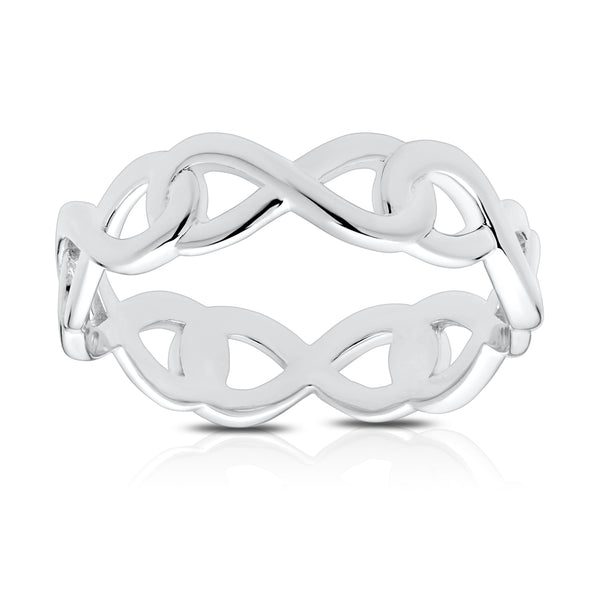 Bixlers Simplicity Diamond Infinity Eternity Ring In Sterling Silver