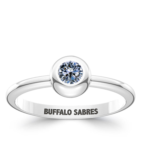 Buffalo Sabres White Sapphire Engraved Ring In Sterling Silver