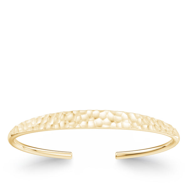 Bixlers Simplicity Diamond Hammered Finish Cuff In 14K Yellow Gold
