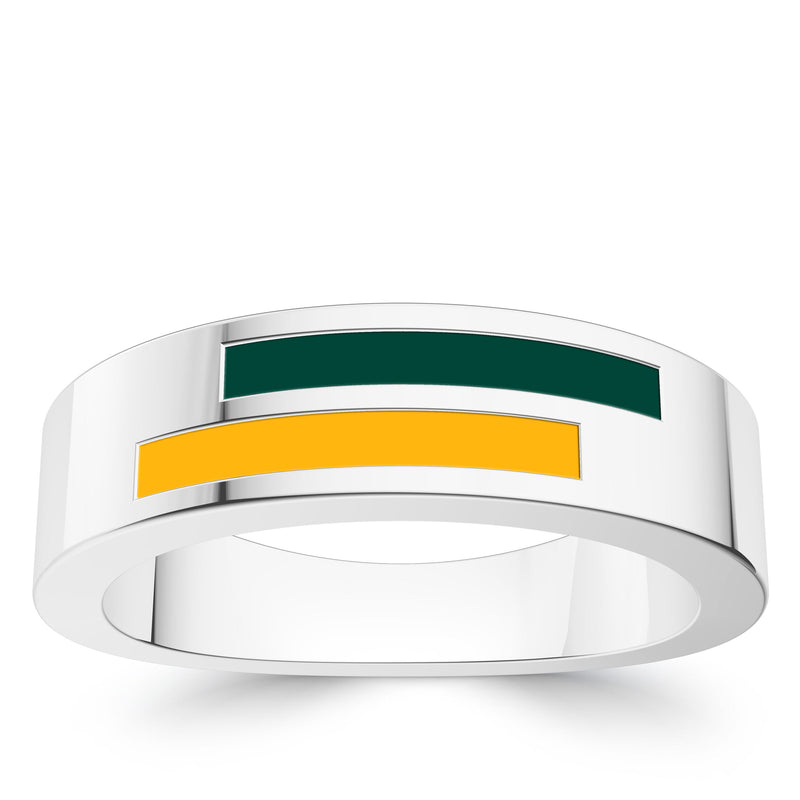Oakland Athletics Asymmetric Enamel Ring In Sterling Silver