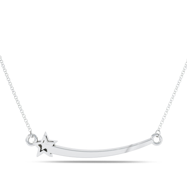 Bixlers Etoile Diamond Shooting Star Necklace In Sterling Silver