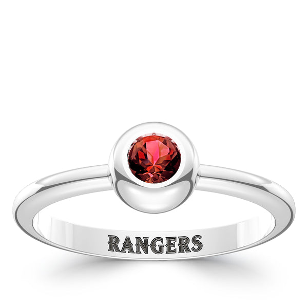 Texas Rangers Ruby Engraved Ring In Sterling Silver