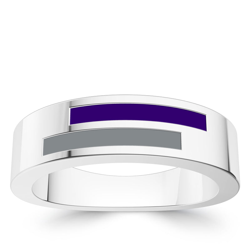 Colorado Rockies Asymmetric Enamel Ring In Sterling Silver
