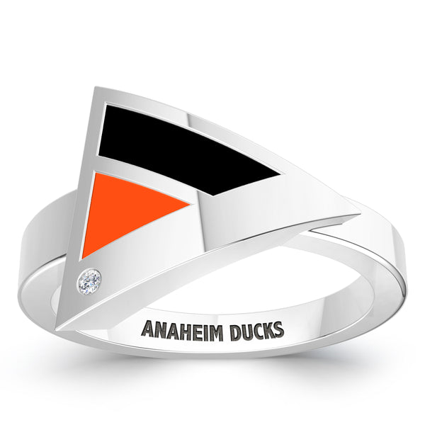 Anaheim Ducks Diamond Engraved Geometric Ring In Sterling Silver
