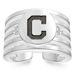 Cleveland Indians Diamond Logo Engraved Multiband Ring In Sterling Silver